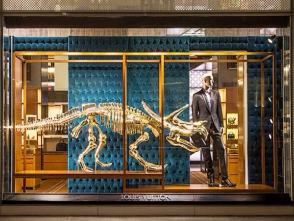 Louis Vuitton dinosaur window