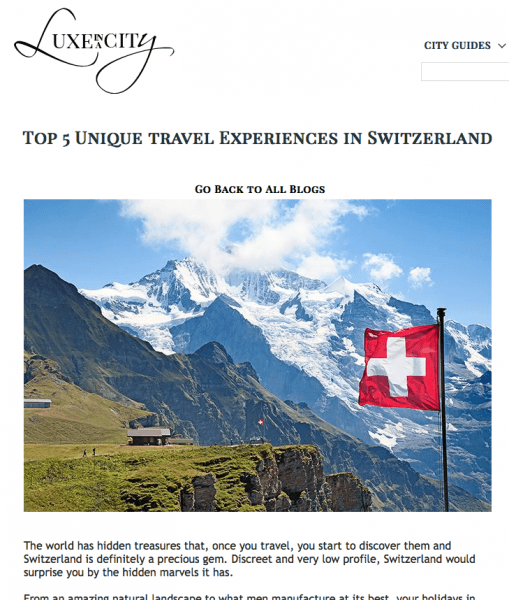 5 travel experiences in Switzerland