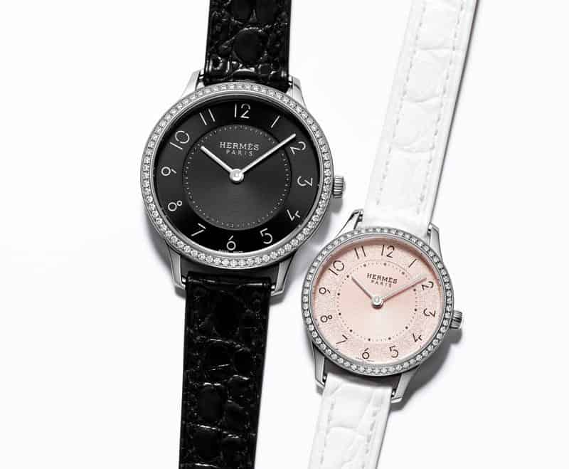 SlimdHermes-Magnolia-and-Black-dial-duo