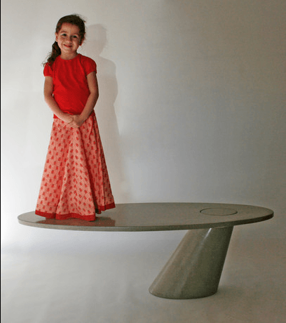 DeWulf, the Leaning coffee table in pure concrete.