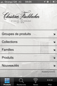 Christian Fischbacher iphone app menu
